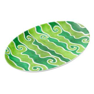Travessa De Porcelana Ondas verdes do limão