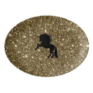 Travessa De Porcelana ouro sparkling do unicórnio