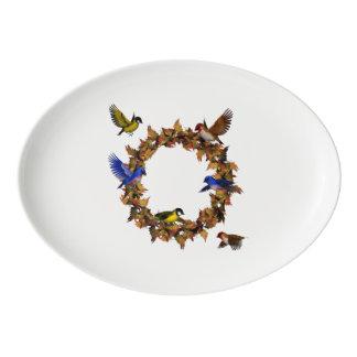 Travessa De Porcelana Pássaros do outono