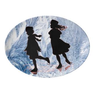 Travessa De Porcelana Patinadores de gelo do vintage
