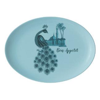 Travessa De Porcelana Pavão azul romântico