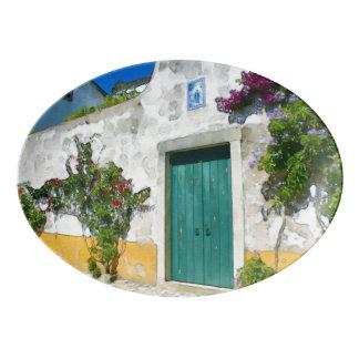 Travessa De Porcelana Porta de madeira verde da aguarela