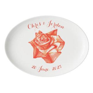 Travessa De Porcelana Presente de casamento elegante simples do rosa do