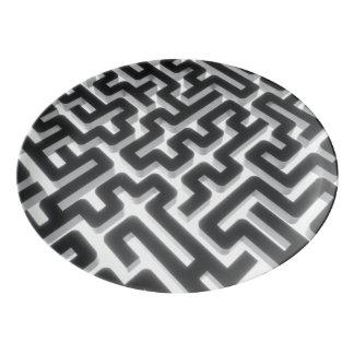 Travessa De Porcelana Preto de prata do labirinto