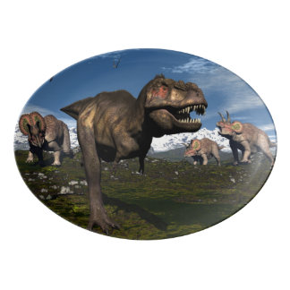 Travessa De Porcelana Rex do tiranossauro atacado pelo dinossauro do