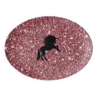 Travessa De Porcelana rosa sparkling do unicórnio