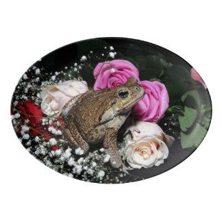 Travessa De Porcelana Sapo do bastão nas flores