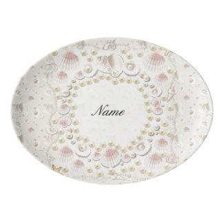 Travessa De Porcelana Seashells e pérolas personalizados