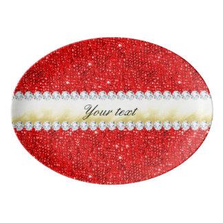 Travessa De Porcelana Sequins vermelhos personalizados, folha de ouro,