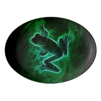 Travessa De Porcelana Silhueta verde do sapo de árvore