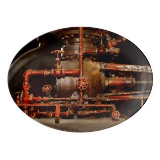 Travessa De Porcelana Steampunk - sonhos de tubulação