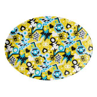 Travessa De Porcelana Teste padrão amarelo brilhante legal do pop art do