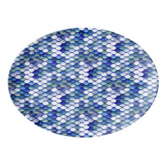 Travessa De Porcelana Teste padrão azul da pele da sereia