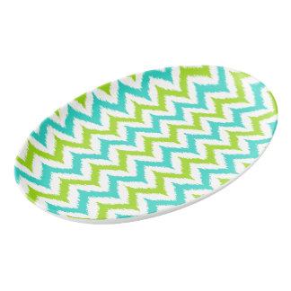 Travessa De Porcelana Teste padrão branco, verde e de turquesa do