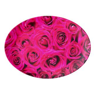 Travessa De Porcelana Teste padrão roxo cor-de-rosa romântico dos rosas