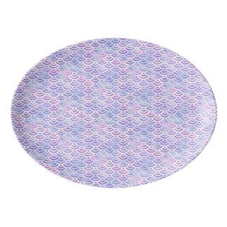 Travessa De Porcelana Teste padrão roxo do Pastel da sereia do arco-íris