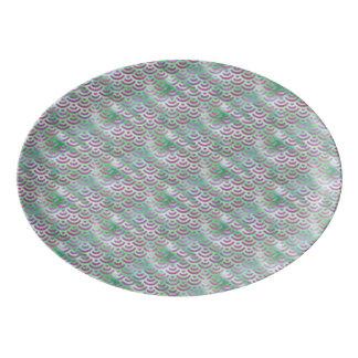 Travessa De Porcelana Teste padrão roxo verde do Pastel da sereia