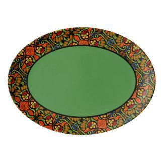 Travessa De Porcelana Teste padrão verde da guarnição do joaninha