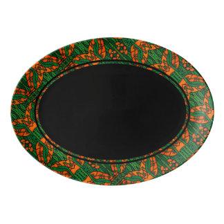 Travessa De Porcelana Teste padrão verde e preto alaranjado do lagarto
