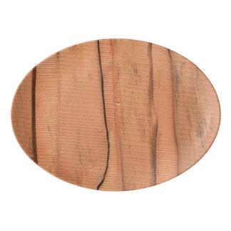 Travessa De Porcelana Textura de madeira