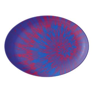 Travessa De Porcelana Tintura espiral azul e vermelha do laço