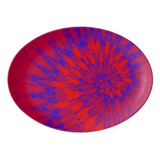 Travessa De Porcelana Tintura espiral vermelha e azul do laço