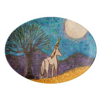 Travessa De Porcelana Unicórnio que olha na lua
