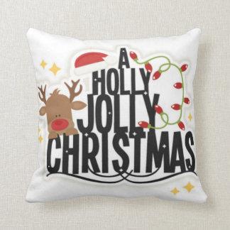 Travesseiro alegre do Natal do azevinho da rena Almofada