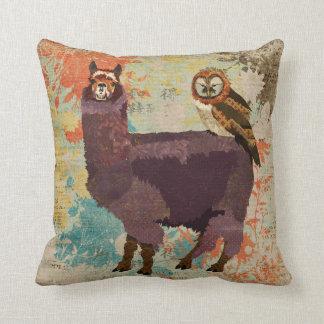 Travesseiro Amethyst da coruja da alpaca & das mãe