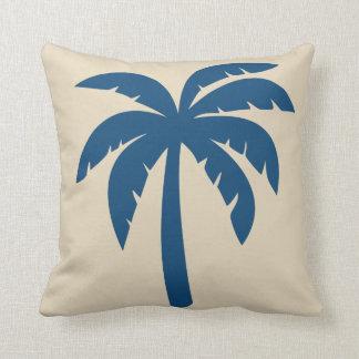 Travesseiro azul da palmeira almofada