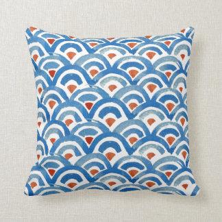Travesseiro azul de Boho e alaranjado ecléctico Almofada