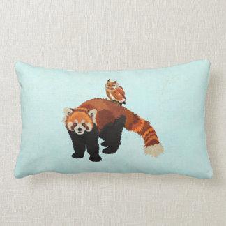 Travesseiro azul de Mojo da panda vermelha & da