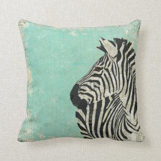 Travesseiro azul de MoJo da zebra do vintage