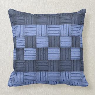 Travesseiro azul do abstrato dos quadrados almofada