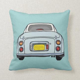 Travesseiro azul do coxim do carro dos desenhos