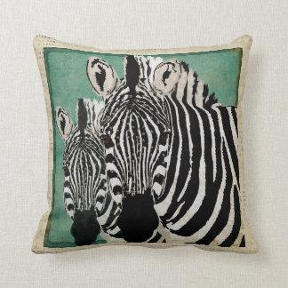 Travesseiro azul estrelado das zebras pretas & bra