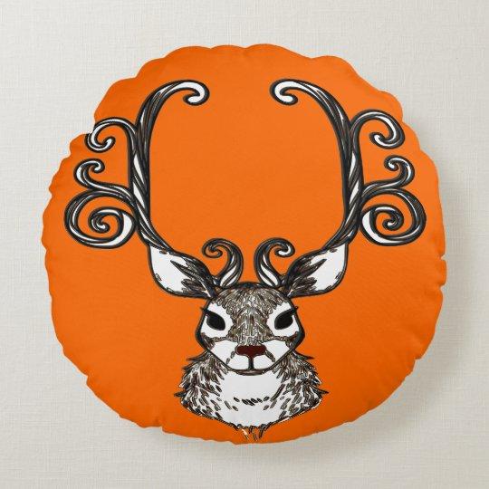 Travesseiro bonito da casa de campo dos cervos do almofada redonda