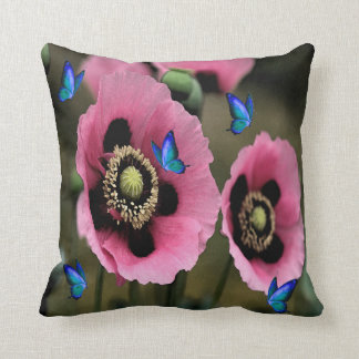 Travesseiro bonito das flores e das borboletas da almofada
