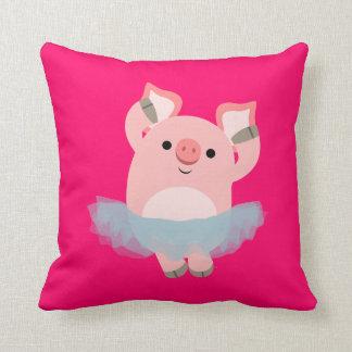 Travesseiro bonito do porco da bailarina dos desen