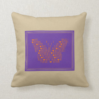 Travesseiro bonito do quadrado das borboletas do almofada