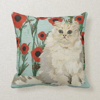 Travesseiro branco de Mojo das papoilas do gato