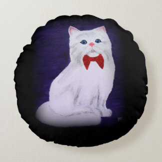 Travesseiro branco do gato almofada redonda