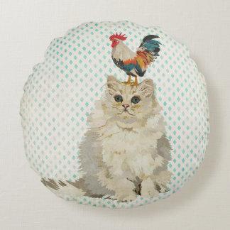 Travesseiro branco do gato & do galo almofada redonda