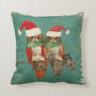 Travesseiro cor-de-rosa de MoJo do Natal das coruj