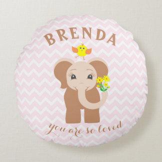 Travesseiro cor-de-rosa do elefante do bebê de almofada redonda