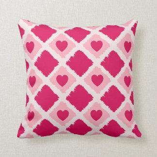 Travesseiro cor-de-rosa dos blocos dos corações N Almofada