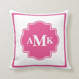 Travesseiro cor-de-rosa e branco escuro clássico almofada