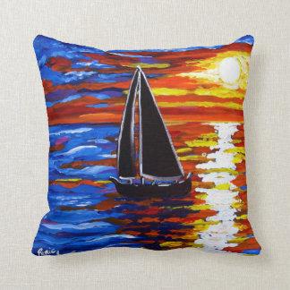 Travesseiro da arte popular do veleiro do por do almofada