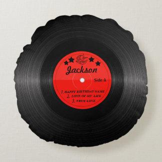 Travesseiro da etiqueta do registro de vinil - almofada redonda