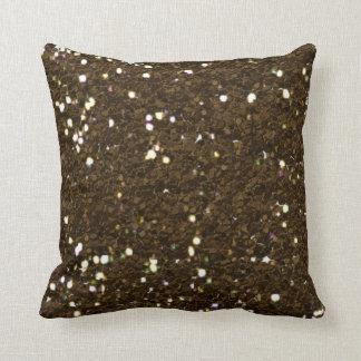 Travesseiro da textura do brilho do marrom escuro almofada